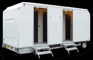toiletwagen huren met aparte gedeelte voor vrouwen en mannen, te huur bij ECO Toilet